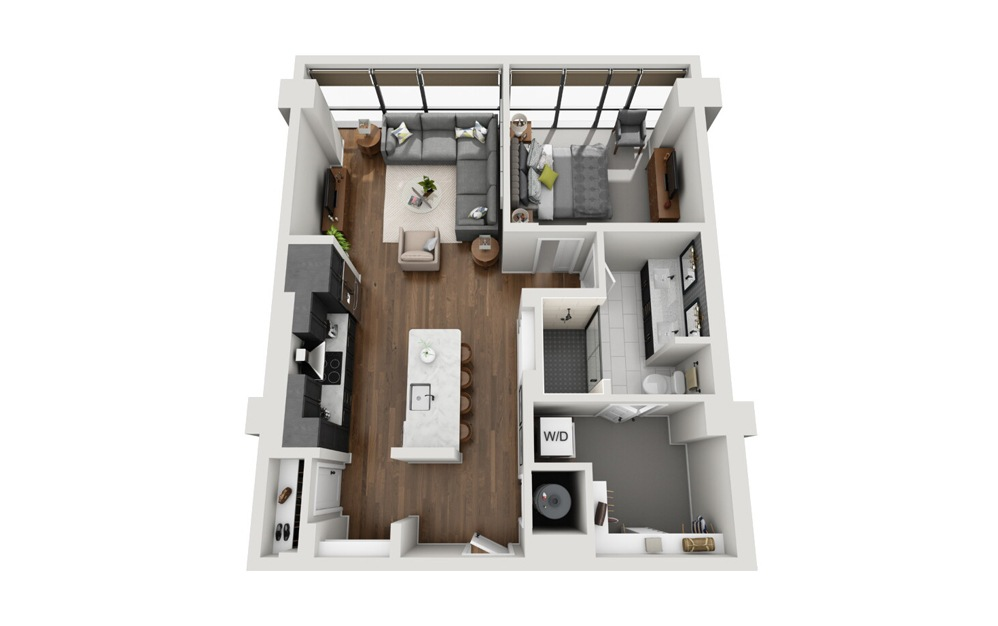 A1 High Rise 1 Bed 1 Bath Floorplan