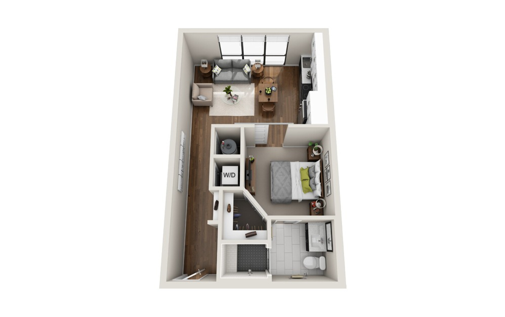 A1 Low Rise 1 Bed 1 Bath Floorplan