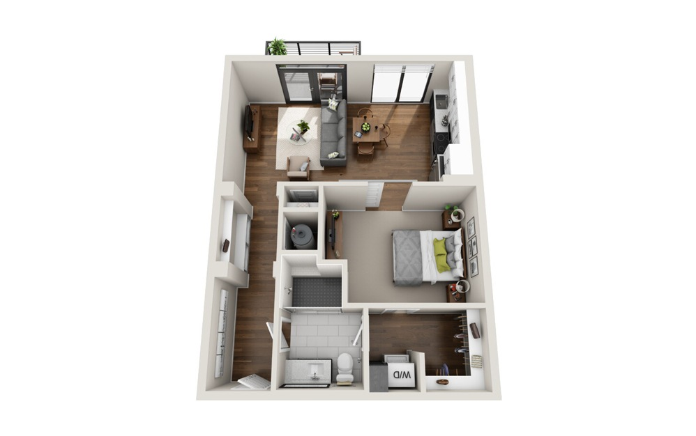 A2 floorplan at Van Alen - Luxury one bedroom apartment in Downtown Durham, NC