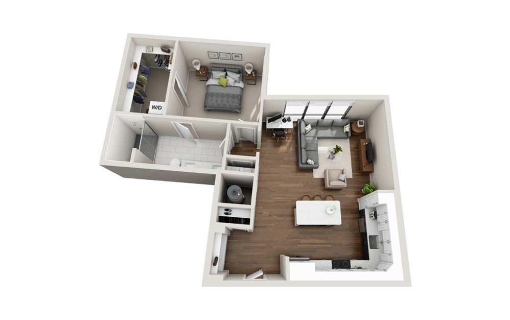 A4 1 Bed 1 Bath Floorplan