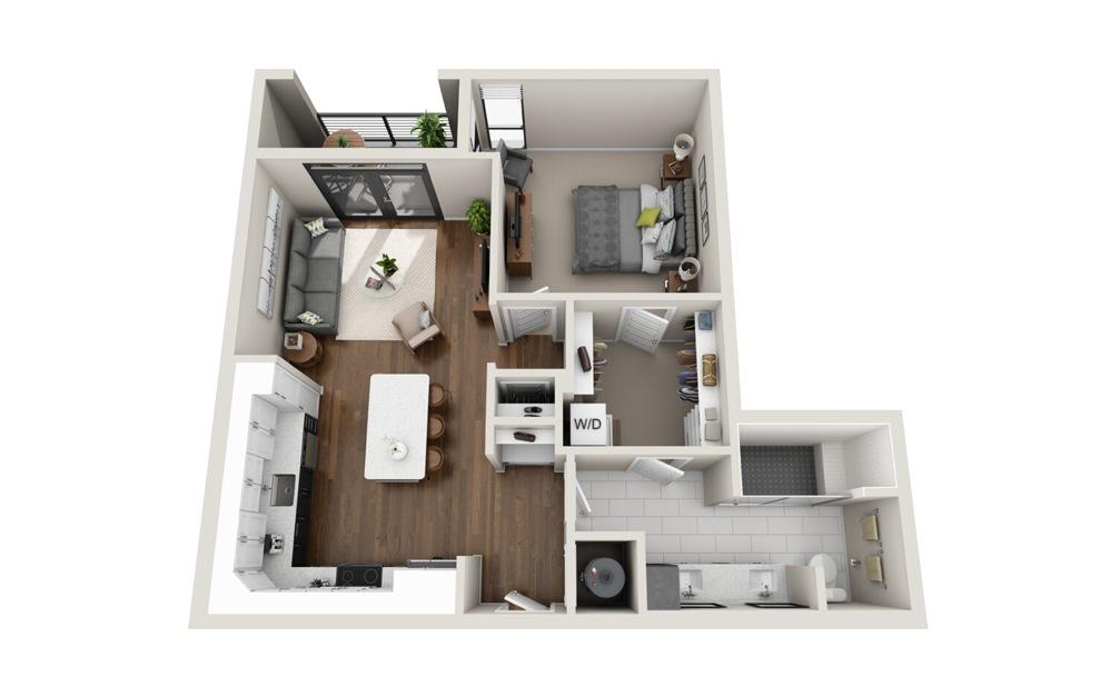 A6 floorplan at Van Alen - Luxury one bedroom apartment in Downtown Durham, NC