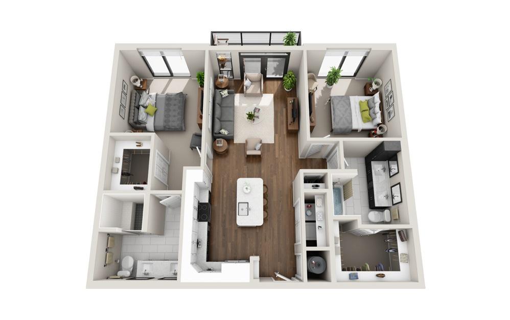 B1 Low Rise 2 bed 2 Bath Floorplan