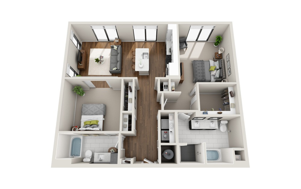 B2 Low Rise 2 Bed 2 Bath Floorplan