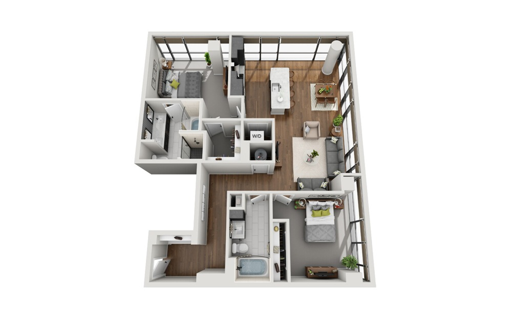 B2 2 Bed 2 Bath Floorplan