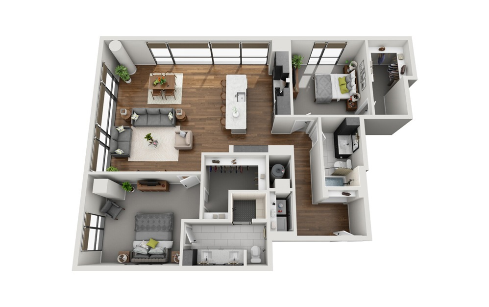 B3 High Rise 2 Bed 2 Bath Floorplan
