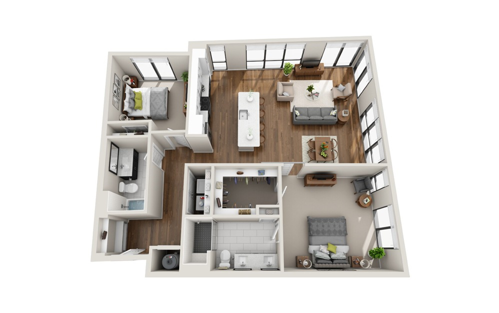 B3 Low Rise 2 Bed 2 Bath Floorplan