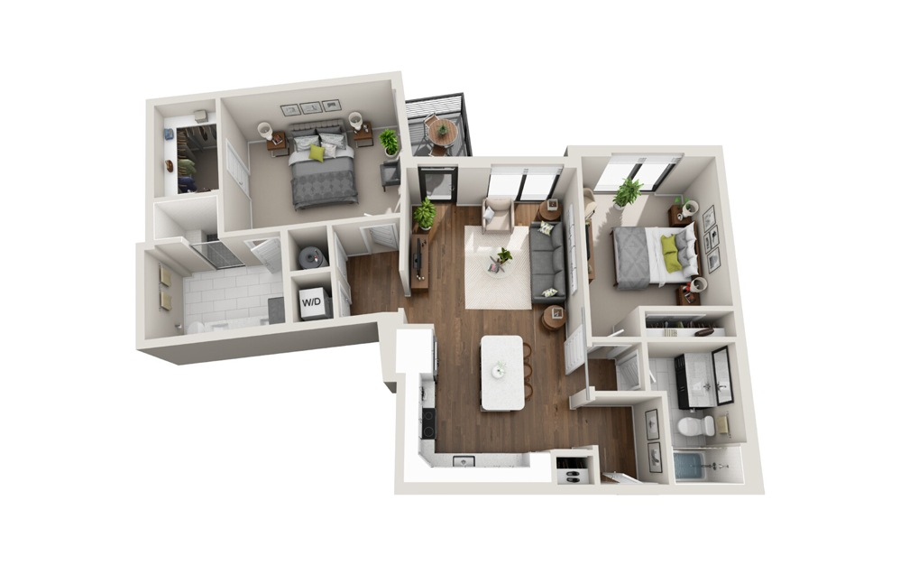 B4 floorplan at Van Alen - Luxury two bedroom apartment in Downtown Durham, NC