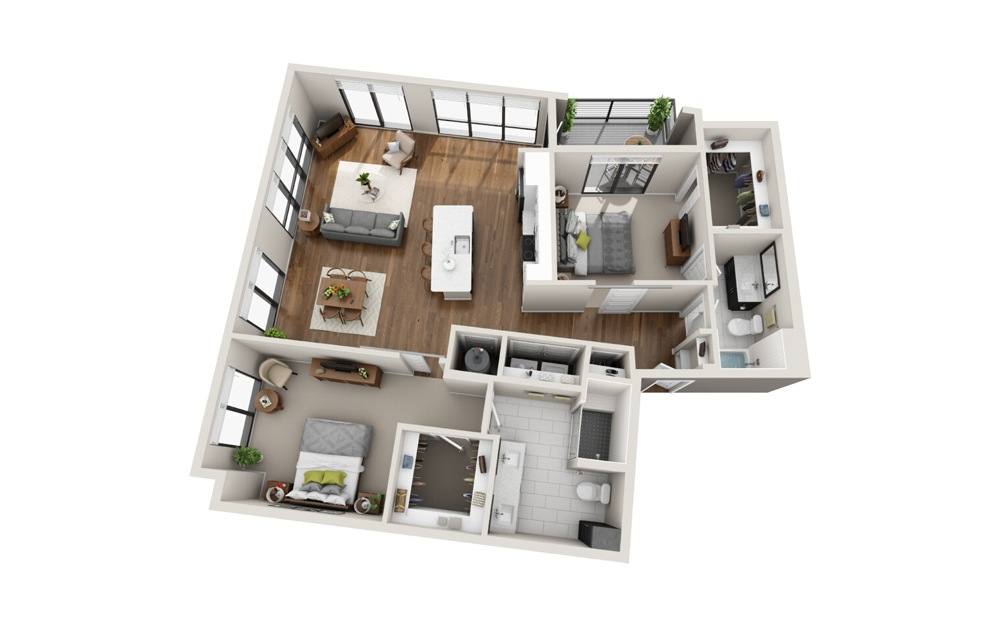 B5 2 Bed 2 Bath Floorplan